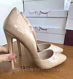 Жіночі бежеві туфлі шкіряні, фото 6