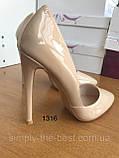 Жіночі бежеві туфлі шкіряні, фото 9