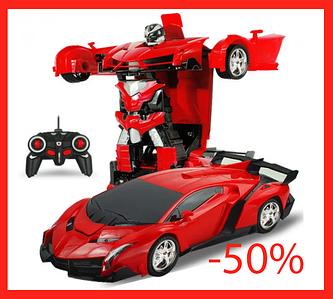 Игрушка машинка трансформер робот на пульте управления автобот Красная