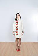 Классическое пальто из кашемира в белом цвете в этническом  стиле