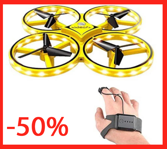 Квадрокоптер-дрон с управлением жестами от руки браслетом Dowellin Gravity желтый