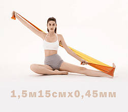 Лента эспандер для пилатеса эспандер лента для фитнеса  эспандер для растяжки (стречинга) 0,45 мм Оранжевый