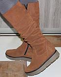 Зимові високі жіночі замшеві чоботи на товстій підошві від виробника модель ПЕ2019Р, фото 7