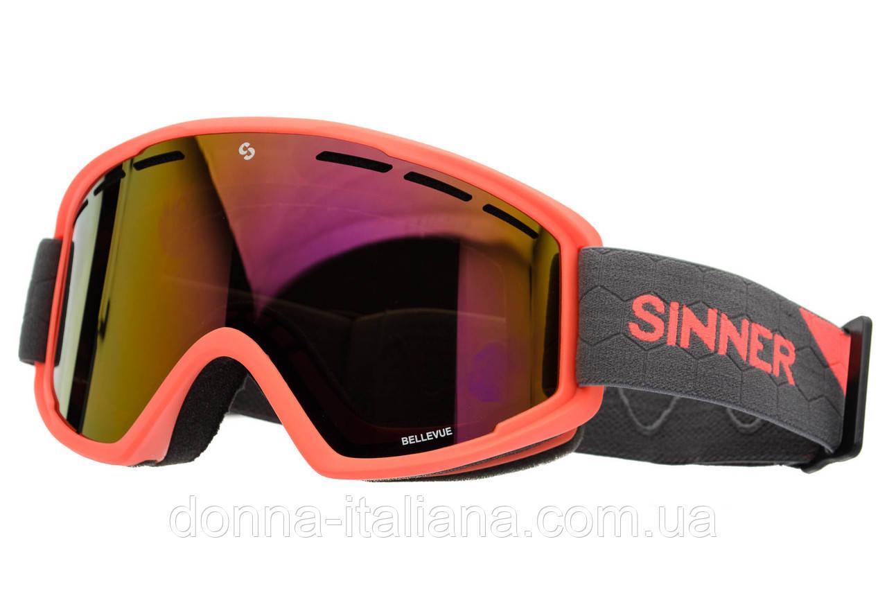 Маска гірськолижна Sinner BELLEVUE Mat NEON ORANGE-Full RED Oi Orange (SIGO-173-60-58)