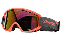 Маска гірськолижна Sinner BELLEVUE Mat NEON ORANGE-Full RED Oi Orange (SIGO-173-60-58), фото 1