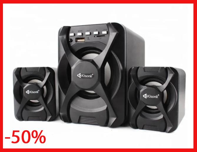 Компьютерные колонки Kisonli (U-2500BT) Desktop Speaker 2.1 c USB и microSD ридером
