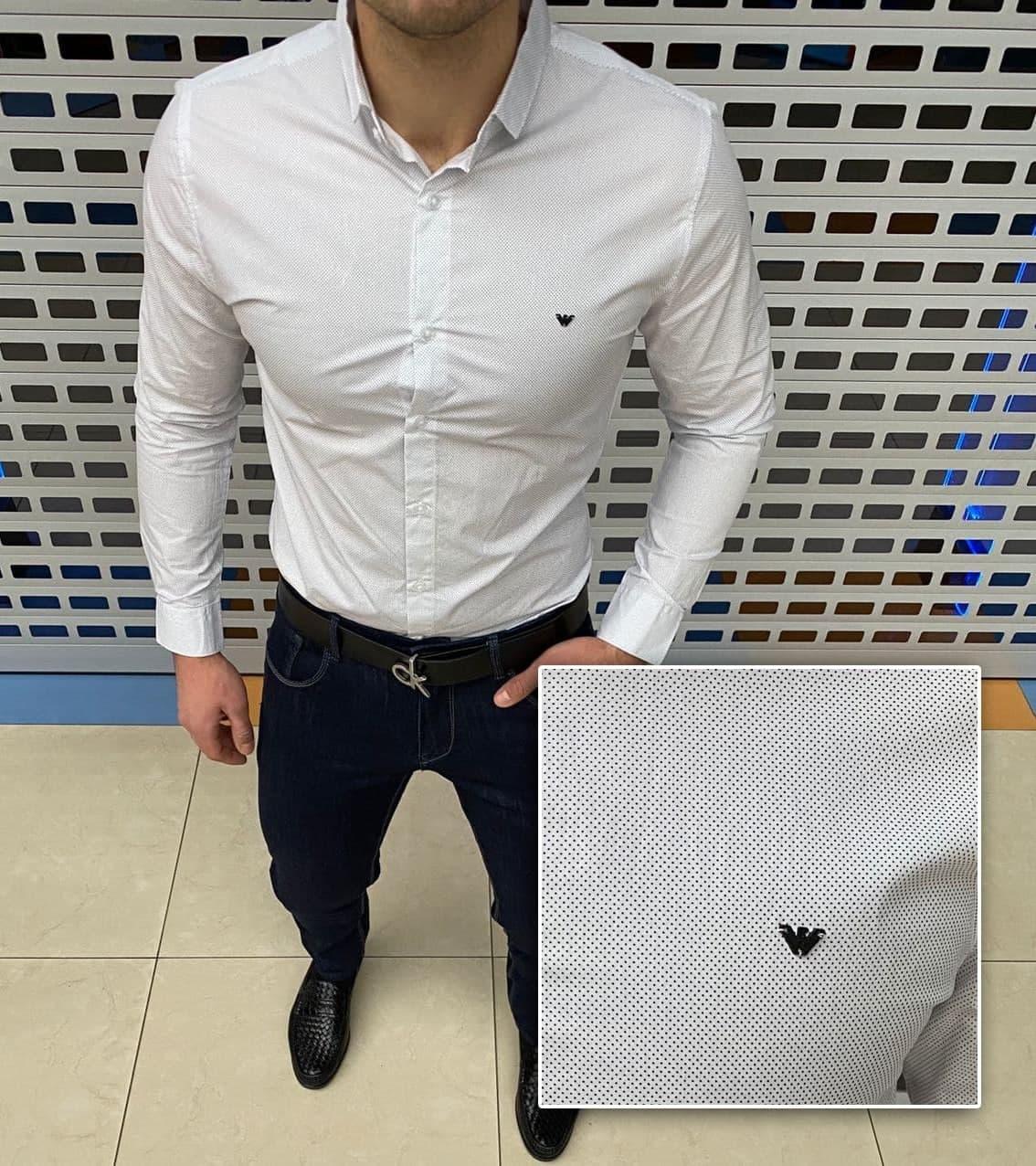 Мужская рубашка Armani H1175 белая