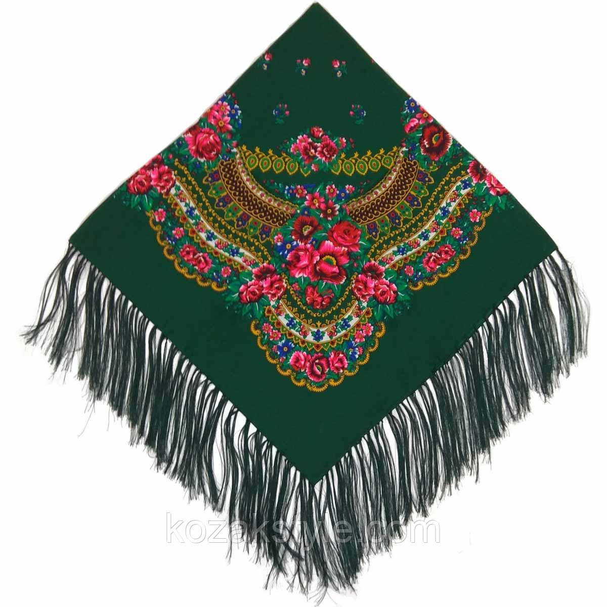 Українська хустка народна зелена (120х120)