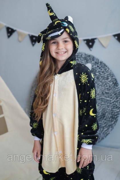 Пижама кигуруми единорог лунный детская теплая велсофт (ворсистый флис)