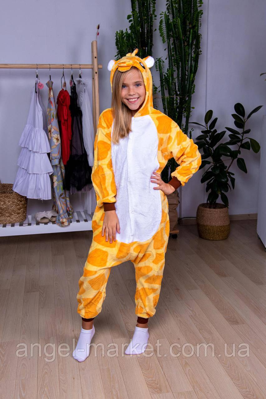 Пижама кигуруми жираф детская теплая велсофт (ворсистый флис)