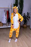Пижама кигуруми жираф детская теплая велсофт (ворсистый флис), фото 1