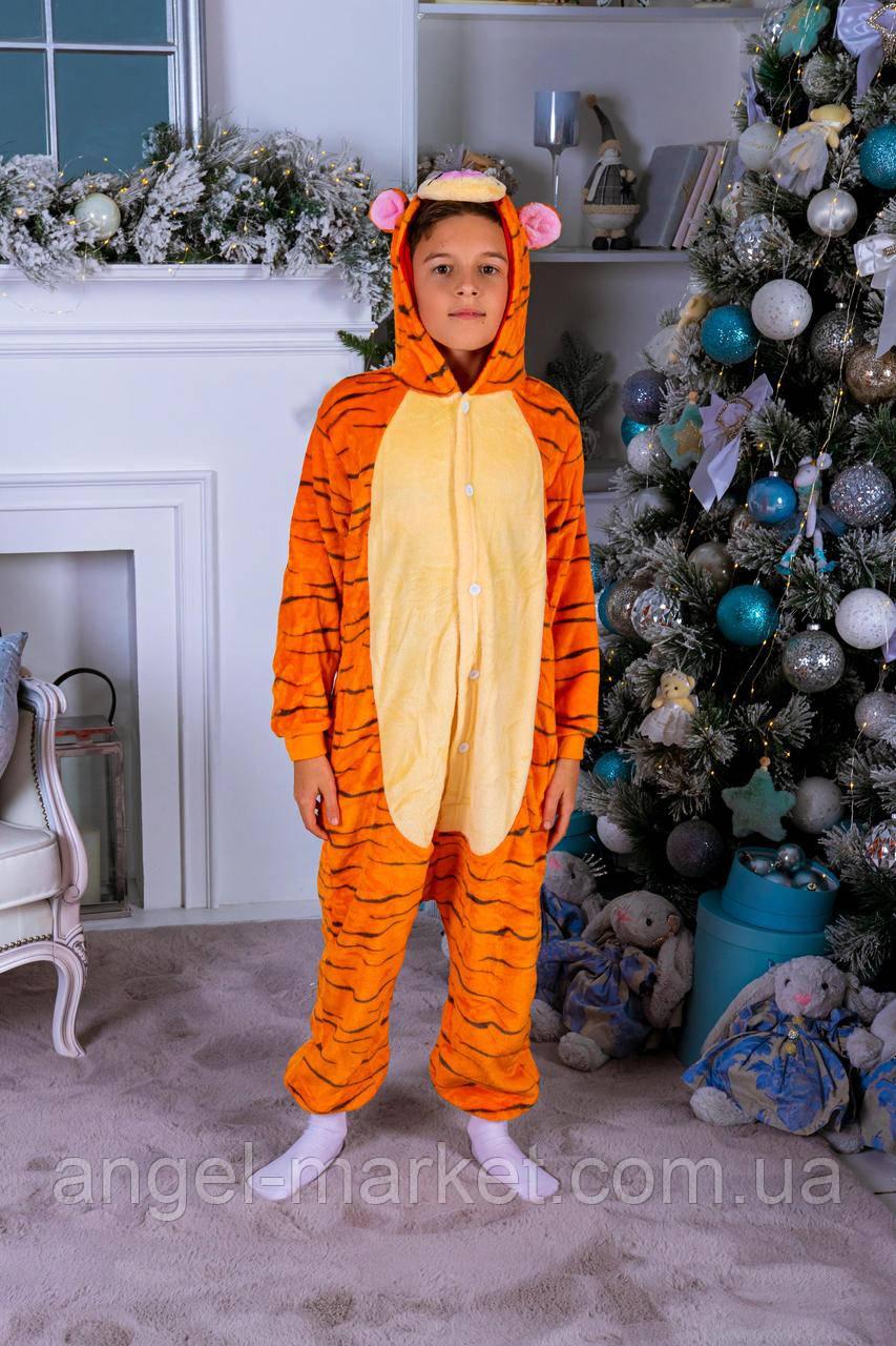 Пижама кигуруми тигрюля детская теплая велсофт (ворсистый флис)