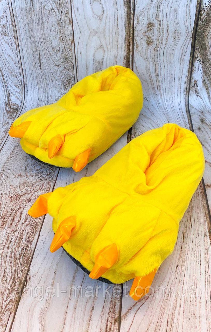 Мягкие тапки желтые лапы когти (5 цв.) теплый прочный мягкий флис нескользящая подошва