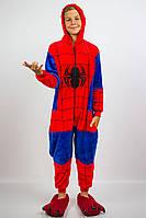 Пижама кигуруми человек паук детская теплая велсофт (ворсистый флис)
