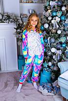 Пижама кигуруми единорог искорка детская теплая велсофт (ворсистый флис)
