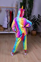 Пижама кигуруми радужный единорог детская теплая велсофт (ворсистый флис)
