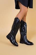 Женские зимние черные сапоги из натуральной кожи