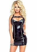 Эротическое платье из эко кожи. Короткое женское платье черного цвета. Платье для особых случаев