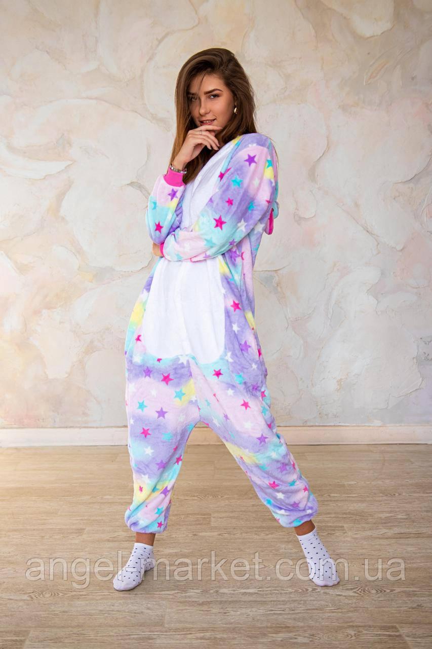 Пижама кигуруми звездный единорог теплая велсофт (ворсистый флис)