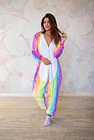 Пижама кигуруми радужный единорог теплая велсофт (ворсистый флис), фото 1