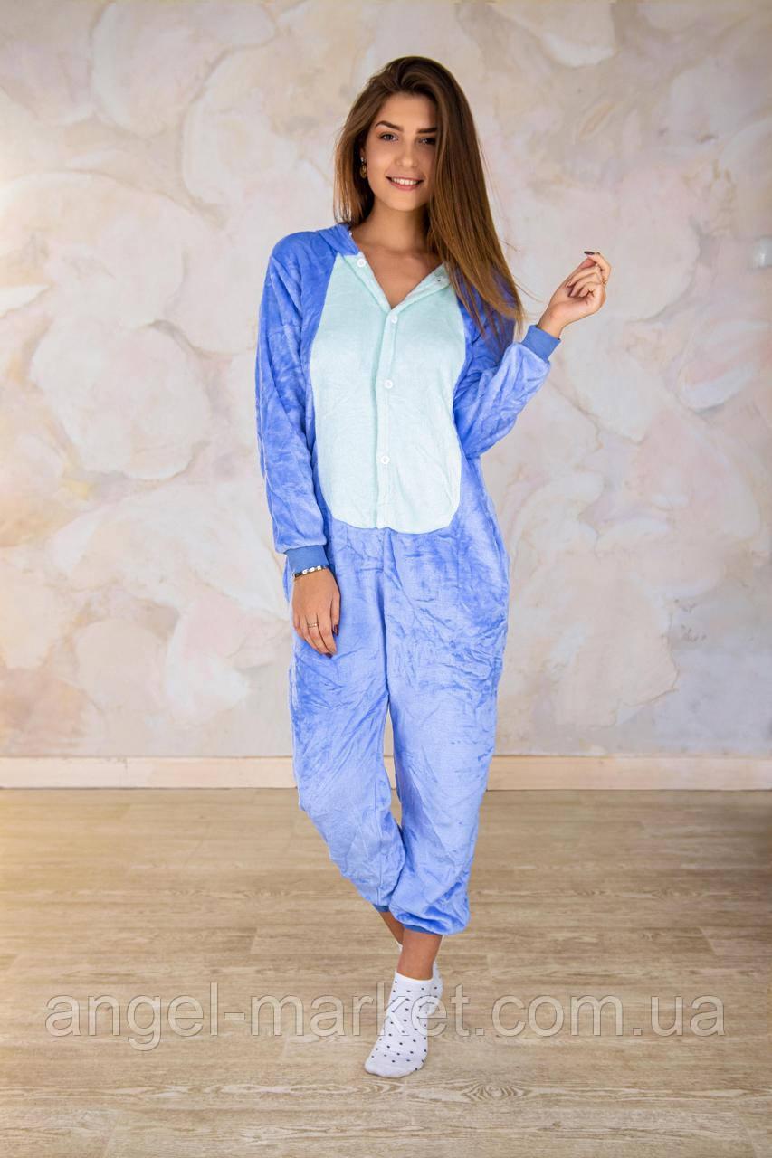 Пижама кигуруми стич синий теплая велсофт (ворсистый флис)