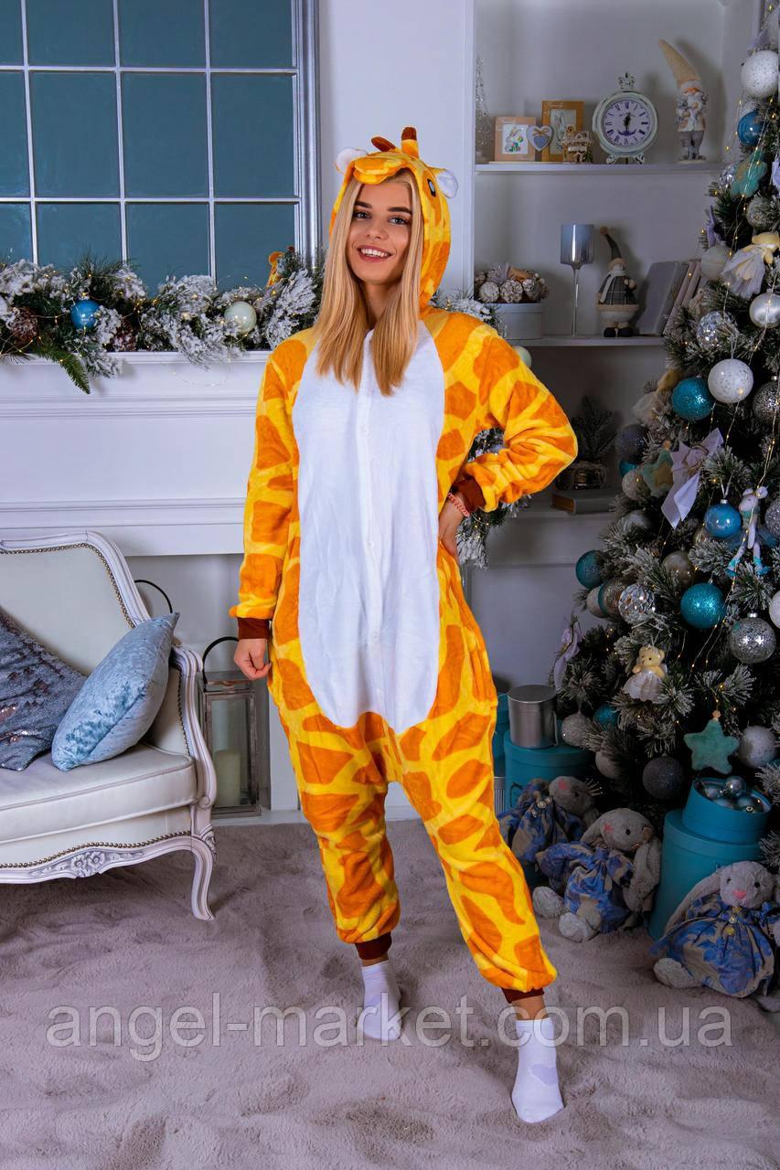 Пижама кигуруми жираф теплая велсофт (ворсистый флис)