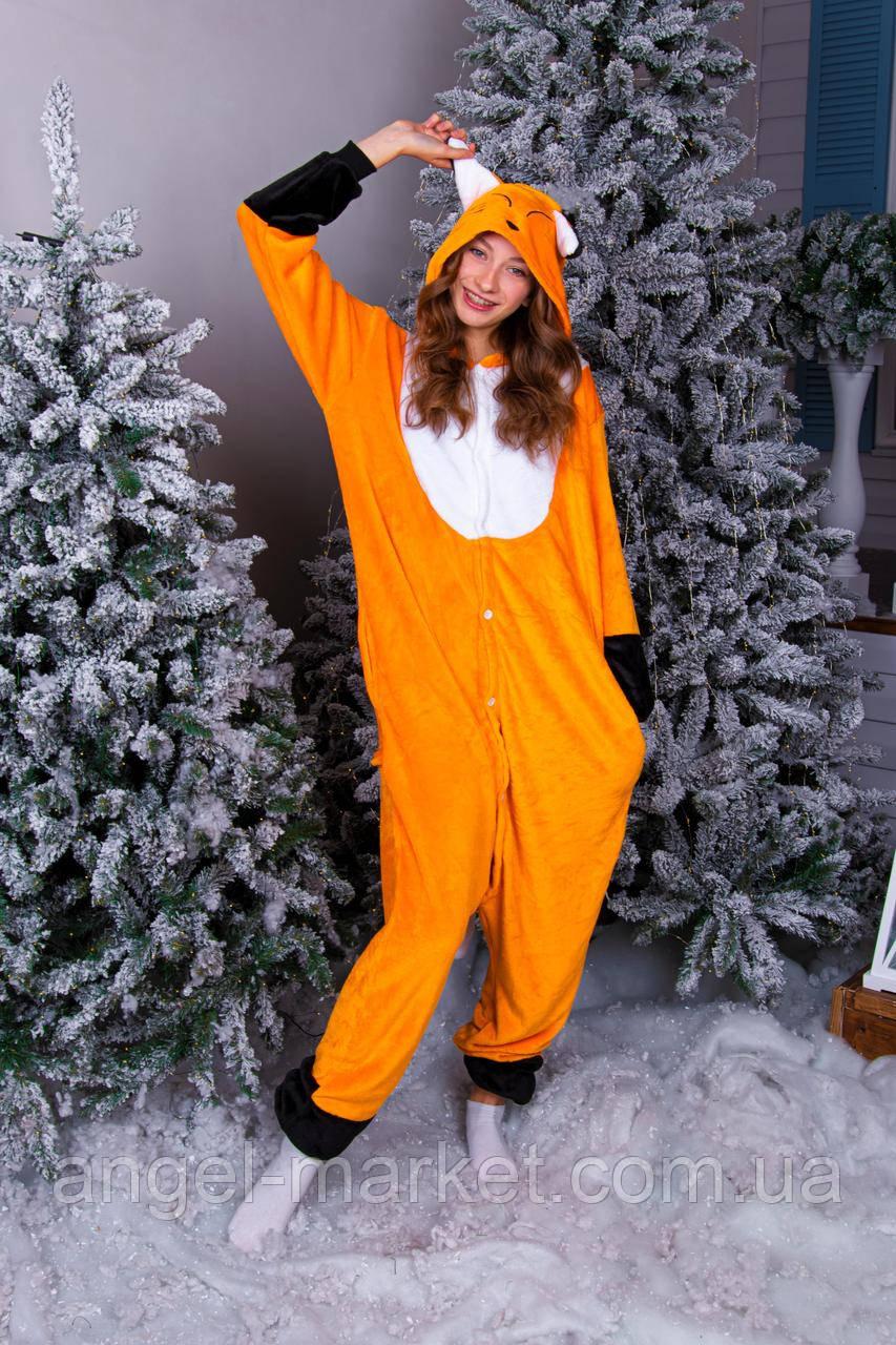 Пижама кигуруми лиса теплая велсофт (ворсистый флис)