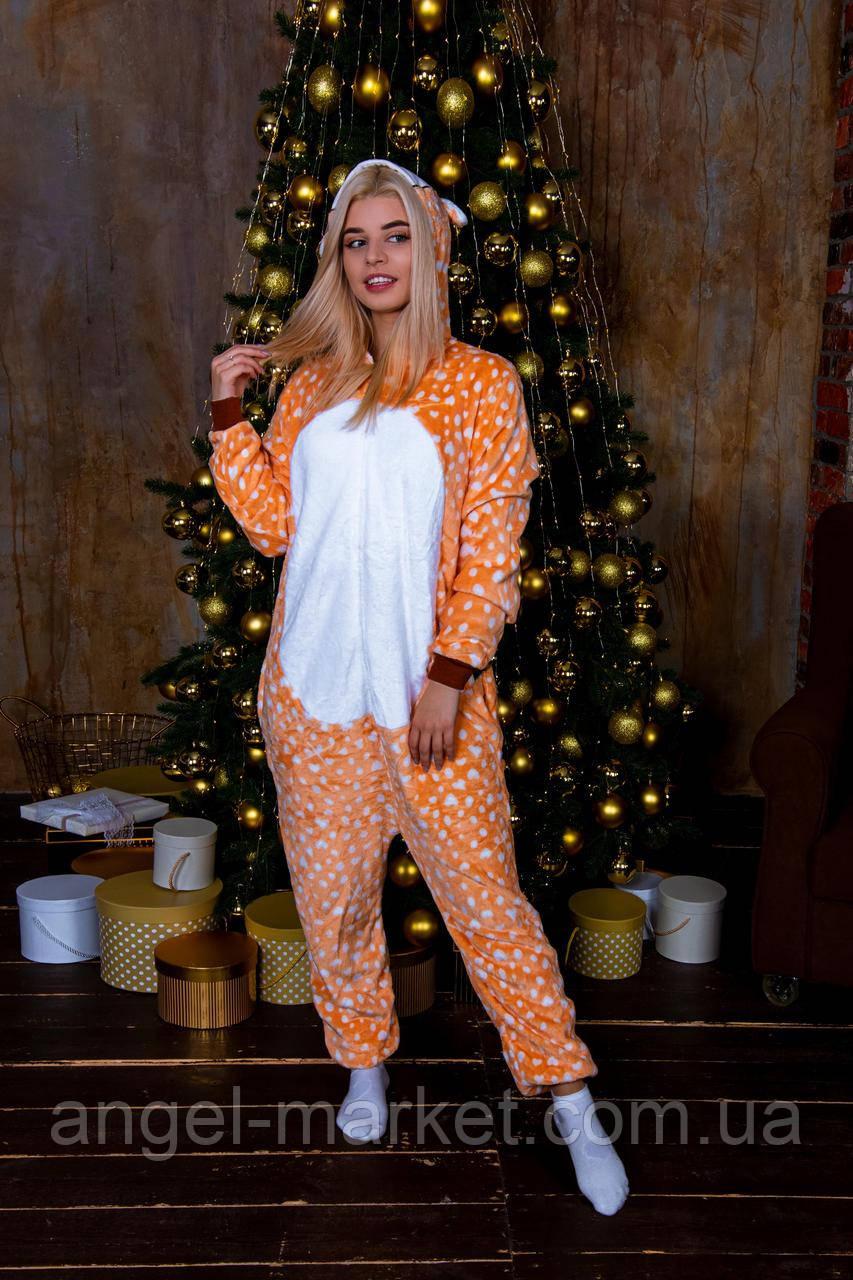 Пижама кигуруми олень теплая велсофт (ворсистый флис)