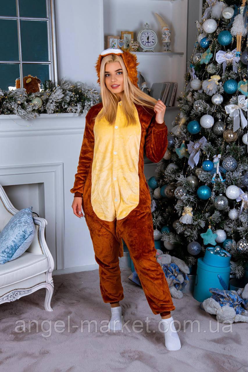 Пижама кигуруми лев теплая велсофт (ворсистый флис)