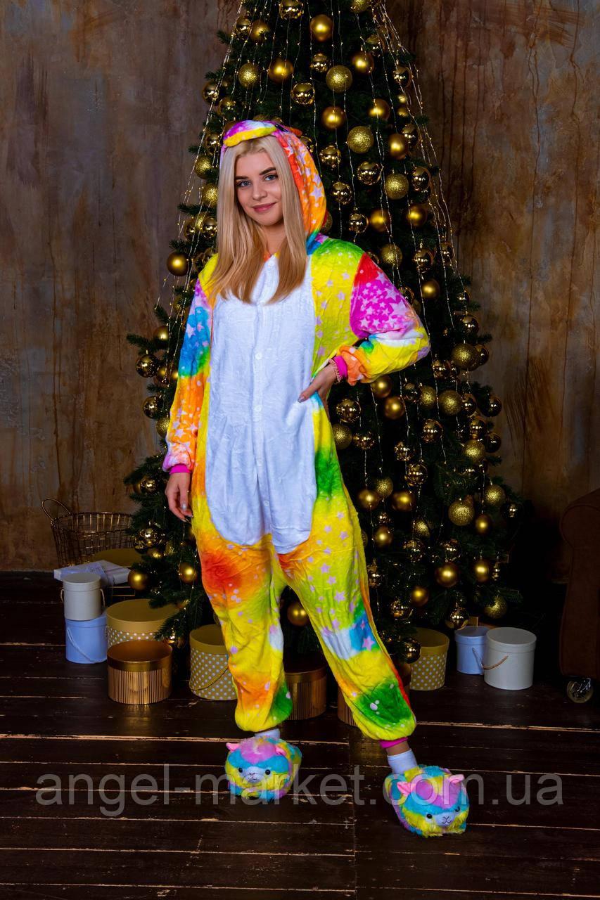Пижама кигуруми космический единорог теплая велсофт (ворсистый флис)