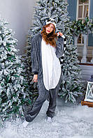 Пижама кигуруми лемур теплая велсофт (ворсистый флис), фото 1