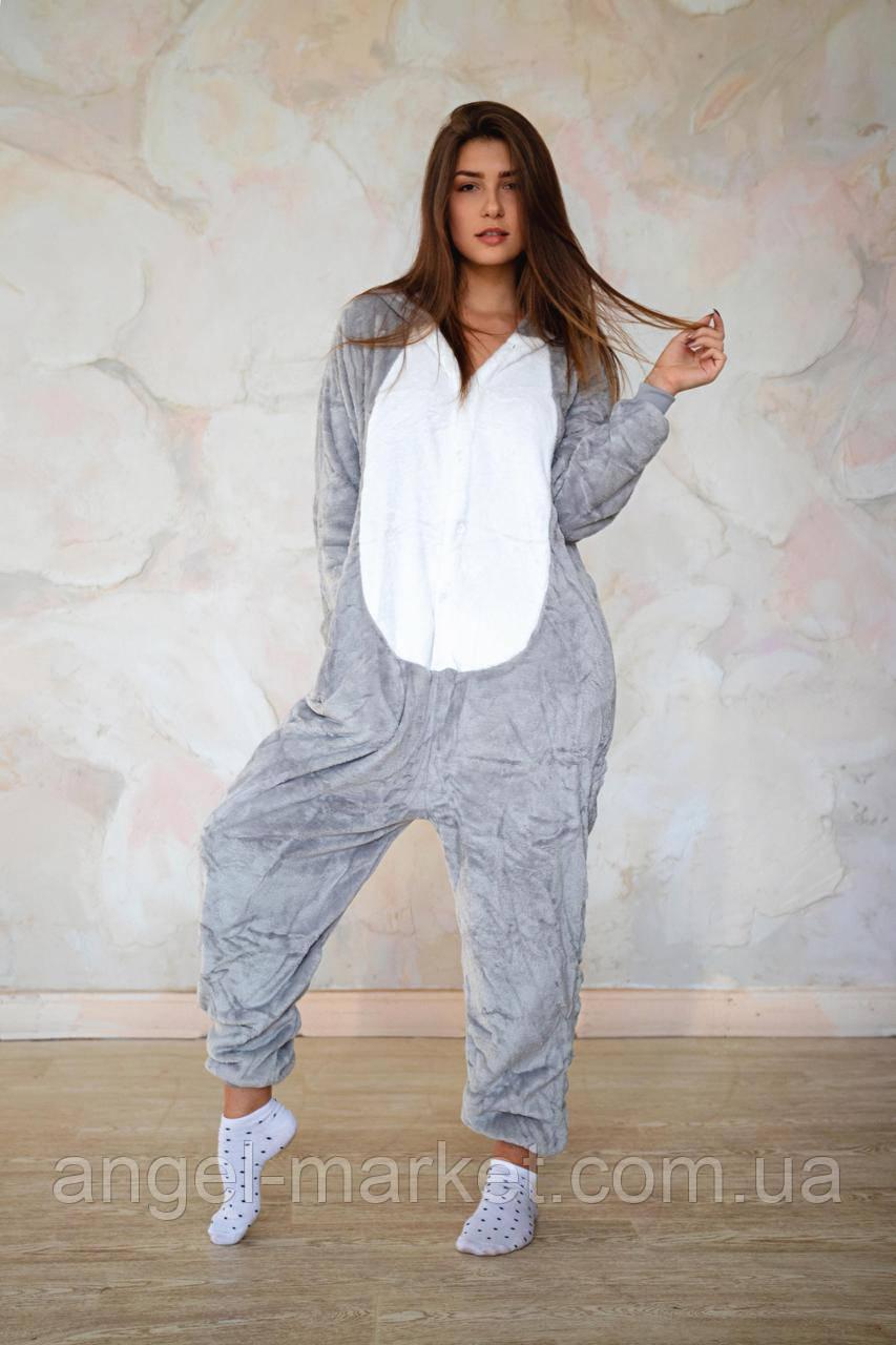 Пижама кигуруми мышка теплая велсофт (ворсистый флис)