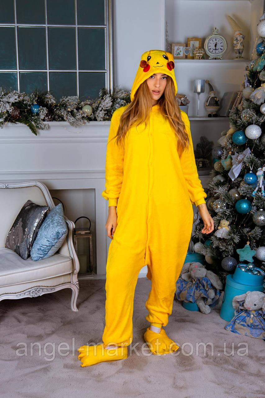 Пижама кигуруми пикачу теплая велсофт (ворсистый флис)