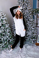 Пижама кигуруми веселая панда теплая велсофт (ворсистый флис)