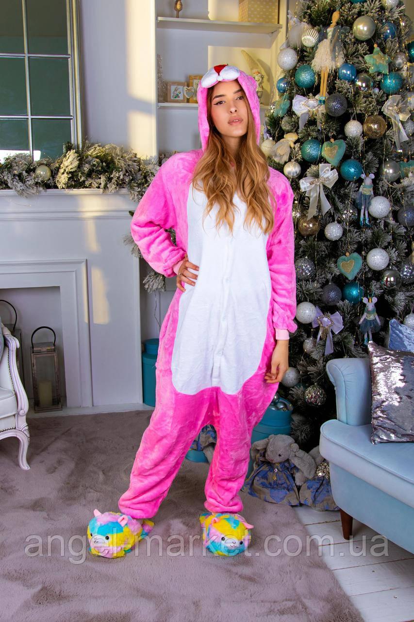 Пижама кигуруми розовая пантера теплая велсофт (ворсистый флис)