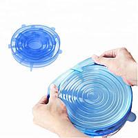 Набор силиконовых крышек для посуды Lids 6 шт универсальные RN 494, КОД: 1082375