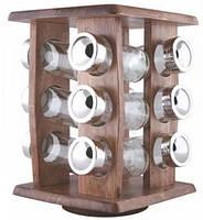 Набор для специй на деревянной вращающейся подставке Besser 10195, 12 емкостей (ZE35012411)