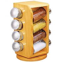 Набор для специй Stenson MS-0371 Woody, деревянная вращающаяся подставка, 8 стеклянных емкостей (ZE35012410)