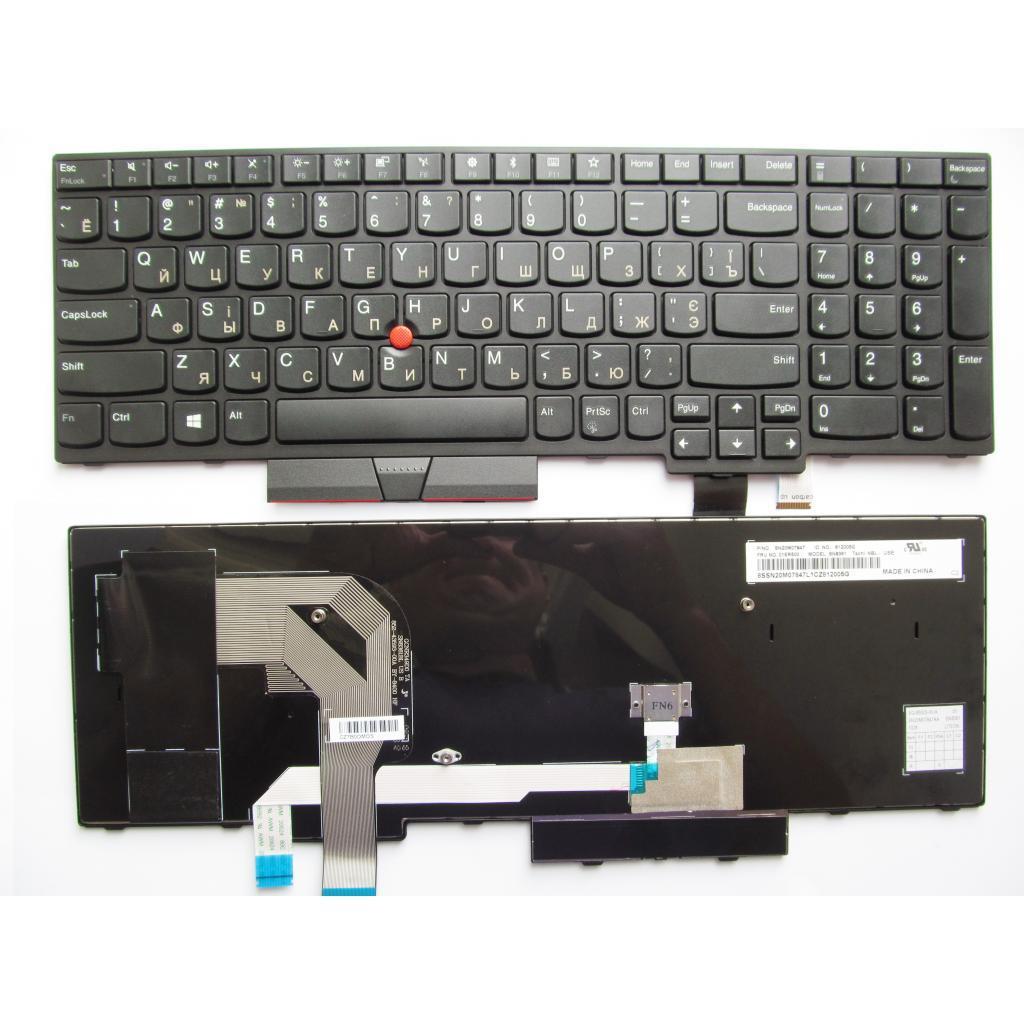 Клавіатура ноутбука Lenovo ThinkPad T570/P51S чорна з чорною,трек (A46078)