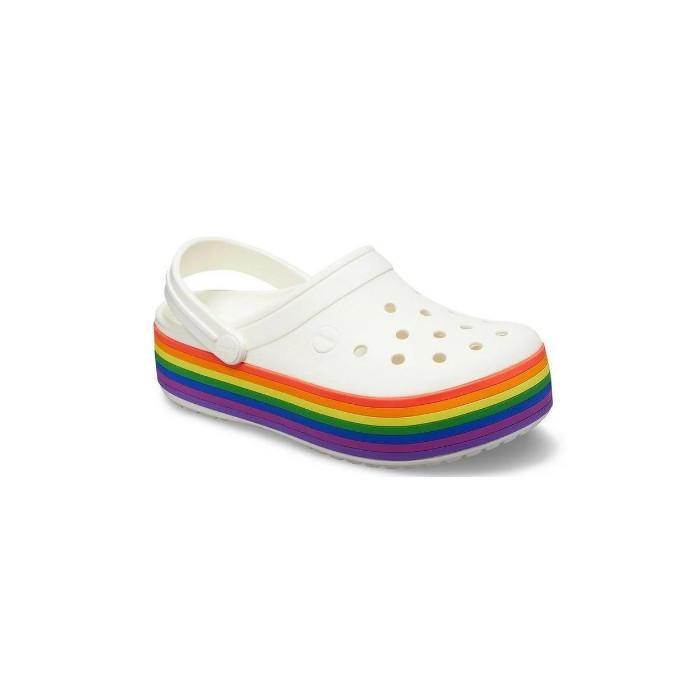 Женские кроксы Crocs Platform белые/радуга 39 р.