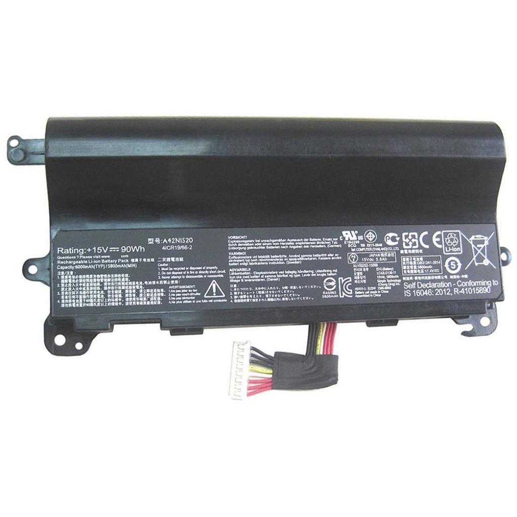 Аккумулятор для ноутбука ASUS ROG G752VY A42N1520, 5800mAh (90Wh), 8cell, 15V, Li-ion, чер (A47285)
