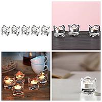Набор фигурных подсвечников 5 шт IKEA VÄSNAS для чайных греющих свечей таблеток, прозрачное стекло ИКЕА ВЕСНАС