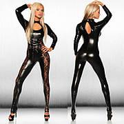 Сексуальный женский комбинезон из эко кожи. Одежда для танцовщицы. Черный костюм для особых случаев
