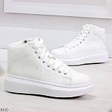 Модные высокие белые женские кроссовки кеды криперы по доступной цене, фото 2