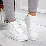 Модные высокие белые женские кроссовки кеды криперы по доступной цене, фото 3