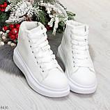 Модные высокие белые женские кроссовки кеды криперы по доступной цене, фото 4