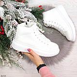 Модные высокие белые женские кроссовки кеды криперы по доступной цене, фото 5