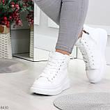 Модные высокие белые женские кроссовки кеды криперы по доступной цене, фото 8