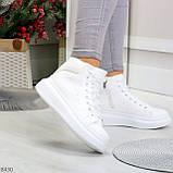 Модные высокие белые женские кроссовки кеды криперы по доступной цене, фото 9