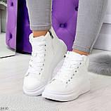 Модные высокие белые женские кроссовки кеды криперы по доступной цене, фото 10